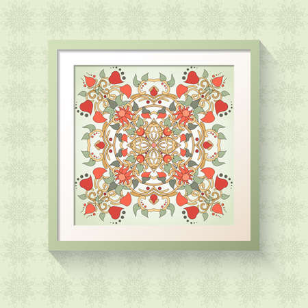 3D picture frame with floral symmetrical elements. Realistic template square photo frames with shadow. Physalis, leaves and twisted branches. Illustration