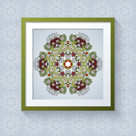 3D picture frame with floral round patternt. Realistic template square photo frames with shadow. Lacy leaves. Vector