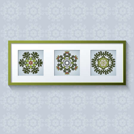 triptych: 3D picture frame design vector with floral ornaments. Realistic template square photo frames with shadow. Triptych.