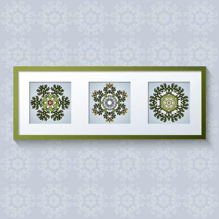 triptico: 3D vector diseño de marco de fotos con los ornamentos florales. Realista plantilla de la foto cuadrada enmarca con la sombra. Tríptico. Vectores