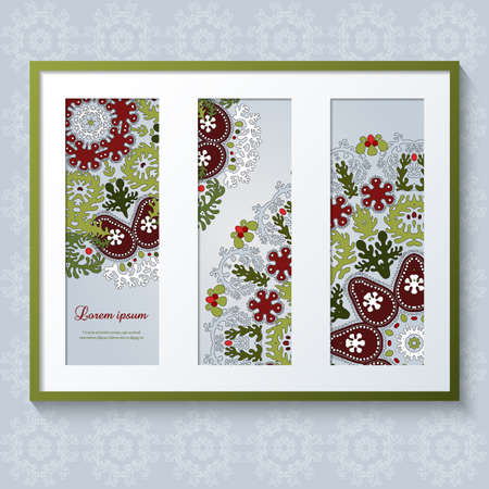 triptych: 3D picture frame with floral ornaments and place for text. Realistic template rectangular photo frames with shadow. Triptych.