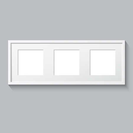 triptych: 3D picture frame design vector for image or text. Realistic template square photo frames with shadow. Triptych. Illustration