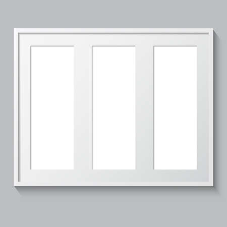 triptych: 3D picture frame design vector for image or text. Realistic template rectangular photo frames with shadow. Triptych. Illustration
