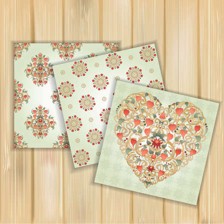 represent: Set of banners with floral patterns on wood background. Heart silhouette created by floral ornament. Can represent love, Valentines Day, romance. Use for invitations and design.