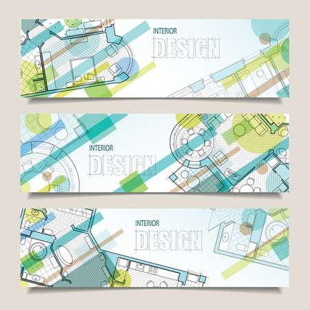 boceto: Conjunto de banderas horizontales con partes del plan arquitect�nico detallado y proyecci�n plana con muebles. Fondo para el dise�o de interiores. Vectores