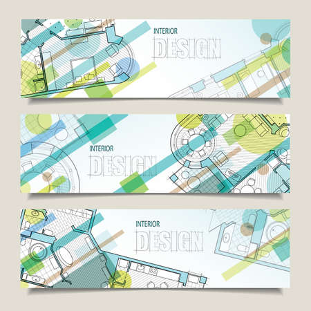 Set of horizontal banners with parts of detailed architectural plan and flat projection with furniture. Background for design of interiors.