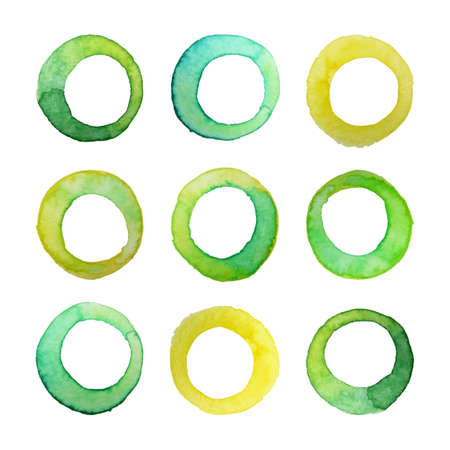 Set of vector watercolor rings for your design. Watercolor design elements isolated on white background.