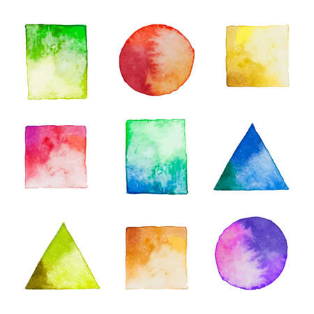 Set of vector watercolor geometric shapes. Watercolor design elements isolated on white background. Colorful square, rectangle, circle, triangle.