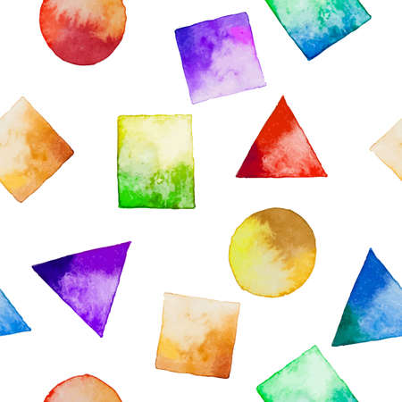 Seamless background with watercolor geometric shapes. Watercolor design elements isolated on white background. Colorful square, rectangle, circle, triangle. Vector