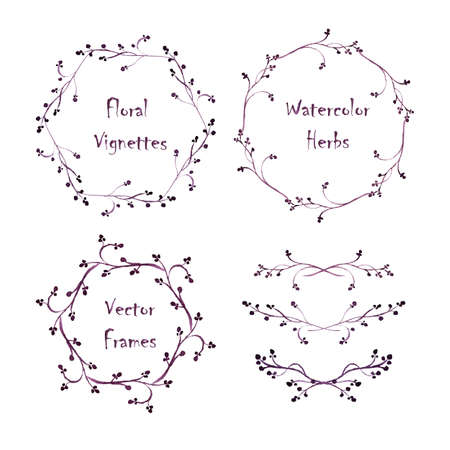 vignettes: Set of round frames and vignettes made of watercolor floral elements. Hand-painted watercolor design elements isolated on white. Perfect for greetings, invitations, web design. Illustration