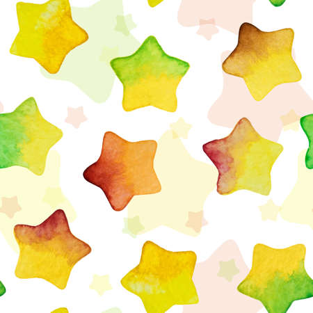Seamless background with colored watercolor vector stars. Perfect for greetings, invitations, manufacture wrapping paper, textile, web design. Vector