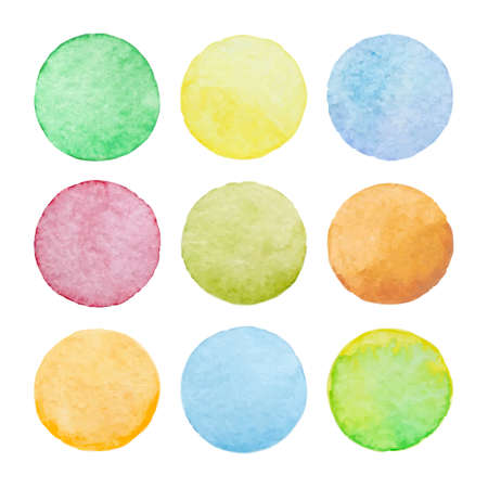 Set of pastel watercolor vector circles. Watercolor design elements isolated on white background.