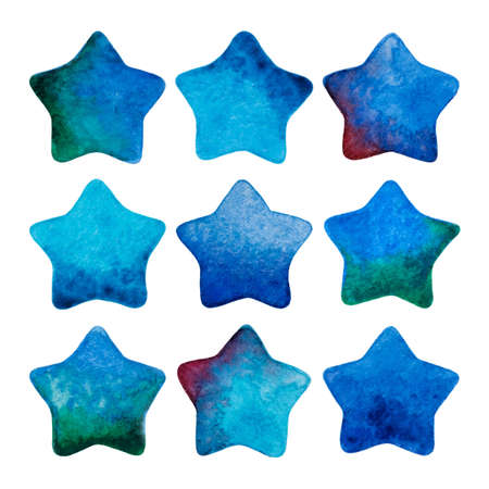 Set of watercolor vector stars isolated on white. Watercolor stars icon set. Perfect for web design. Illustration