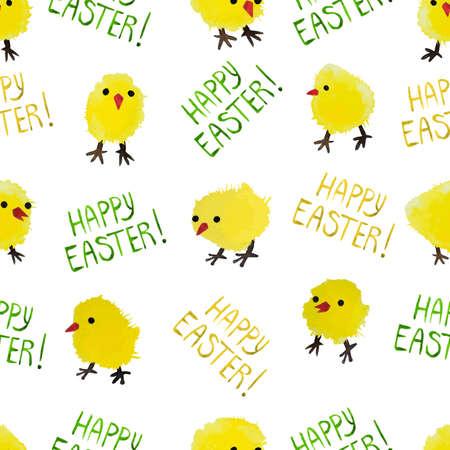 huevo caricatura: De fondo sin fisuras con los pollos de acuarela y letras. Patr�n feliz d�a vector Pascua. Perfecto para los saludos, las invitaciones, la fabricaci�n de papel de embalaje, textil, dise�o de p�ginas web.