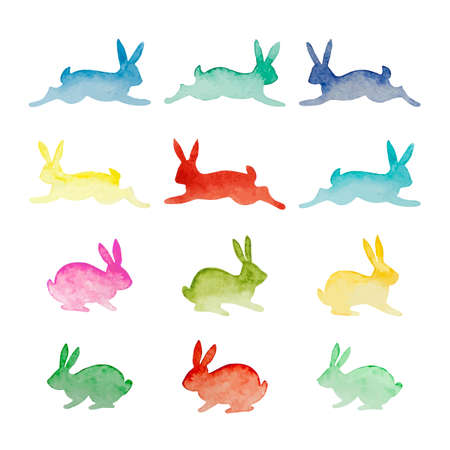 Set of vector watercolor colorful rabbits isolated on white background. Happy Easter day vector clip art for your design Ilustração