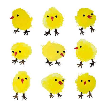 christian young: Set of vector watercolor chickens isolated on white background. Happy Easter day vector clip art for your design