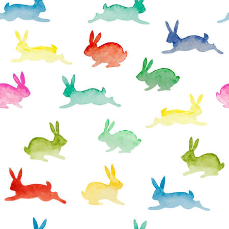 Seamless background with watercolor colorful rabbits. Happy Easter day vector pattern. Perfect for greetings, invitations, manufacture wrapping paper, textile, web design.
