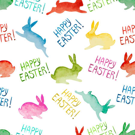 Seamless background with watercolor colorful rabbits and lettering. Happy Easter day vector pattern. Perfect for greetings, invitations, manufacture wrapping paper, textile, web design.