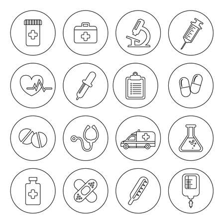 Set of vector Medical Line Icons. Vector clip art illustrations isolated on white  イラスト・ベクター素材