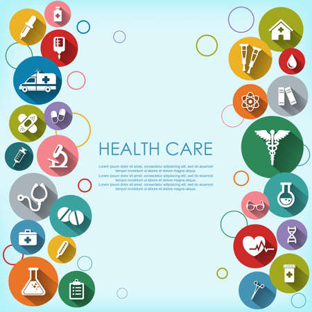 Achtergrond met vector Medische Pictogrammen in vlakke stijl met lange schaduwen. Gezondheidszorg achtergrond. Medische witte pictogrammen op gekleurde basis.