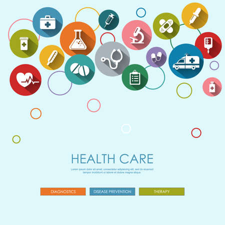 Background with vector Medical Icons in flat style with long shadows. Health care background. Medical white icons on colored basis. Stock Illustratie