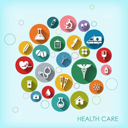 Background with vector Medical Icons in flat style with long shadows. Health care background. Medical white icons on colored basis.  イラスト・ベクター素材