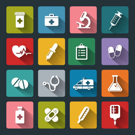 basis: Set of vector Medical Icons in flat style with long shadows. Medical white icons on colored basis.