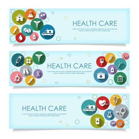 Đặt banner ngang với vector biểu tượng y tế trong phong cách phẳng với bóng dài, bị cô lập trên nền trắng. Vector hình minh họa cho thiết kế của bạn.