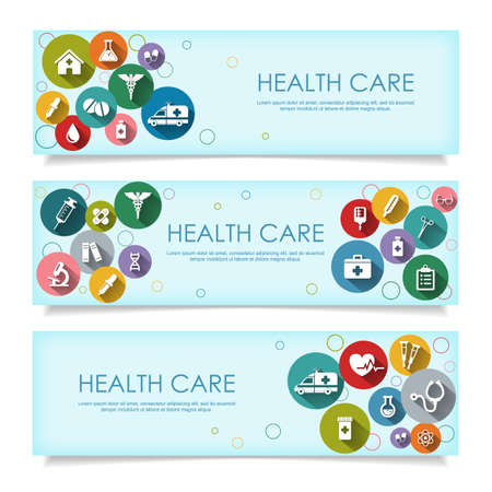 Set of horizontal  banners with vector Medical Icons in flat style with long shadows, isolated on white background. Vector illustration for your design. 向量圖像
