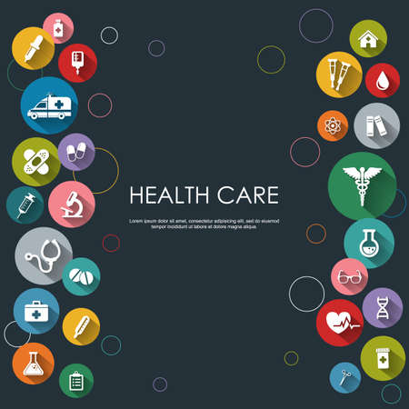 basis: Background with vector Medical Icons in flat style with long shadows. Health care background. Medical white icons on colored basis. Illustration