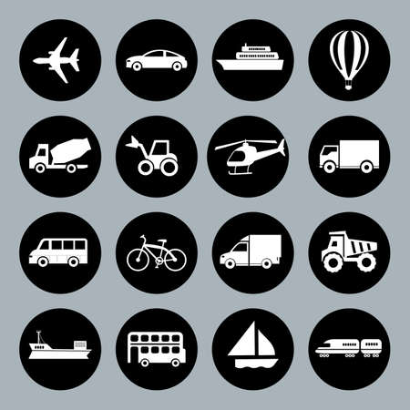 basis: Set of vector Transport icons in flat style, white on blackd basis Illustration