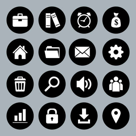 basis: Vector design flat icons for web and mobile, white on black basis.