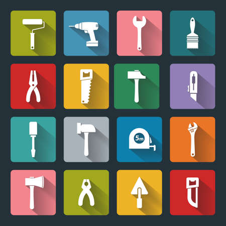 tools icon: House remodel: set of vector design flat working tools icons, white on colored basis with long shadow Illustration
