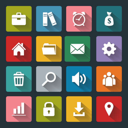 Vector design flat icons for web and mobile, white on colored basis with long shadow