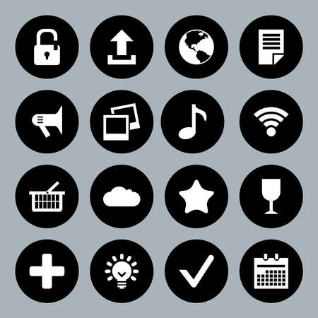 basis: Vector design flat icons for web and mobile, white on black basis