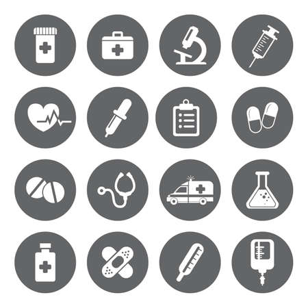 Set of vector Medical Icons in flat style. Medical white icons on grey basis.