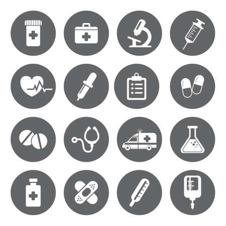 Conjunto de vector Iconos Médicos en estilo plana. Iconos blancos médicas en base gris. Foto de archivo - 38990051