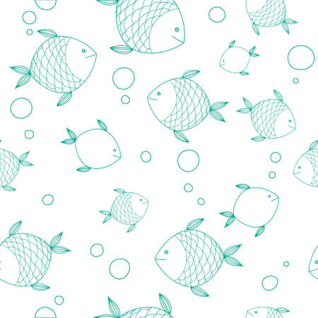 water black background: Seamless pattern with hand drawn cute fishes. Perfect for manufacture wrapping paper, textile, web design.