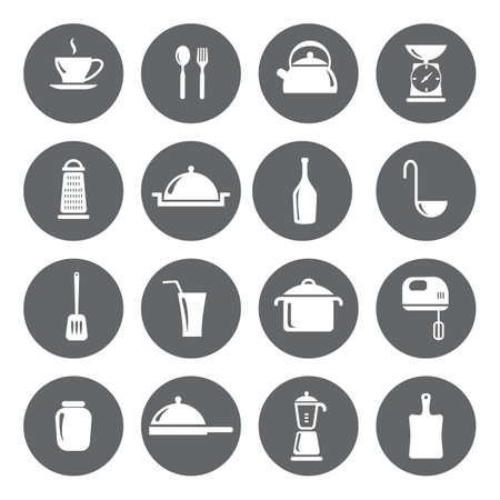 basis: Vector design kitchen flat icons for web, white on grey basis