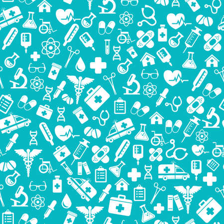 Seamless pattern with vector Medical Icons in flat style. Medical white icons on blue backgound for your design. Ilustração