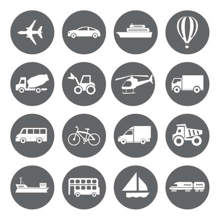 basis: Set of vector Transport icons in flat style, white on grey basis Illustration