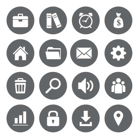 basis: Vector design flat icons for web and mobile, white on grey basis.