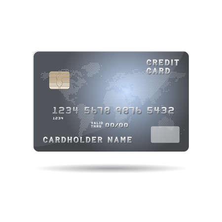 Plastic betaalkaart met chip en globale kaart achtergrond afbeelding. Vectorillustratie geïsoleerd op wit.