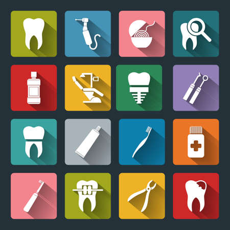 Set of vector Dental Icons in flat style with long shadows. Dental white icons on colored basis.