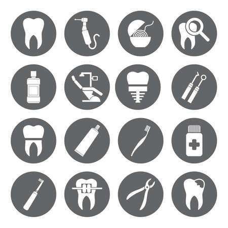 Set di vettore dentali icone in stile piatto. Dental icone bianche su base grigio. Archivio Fotografico - 39636263