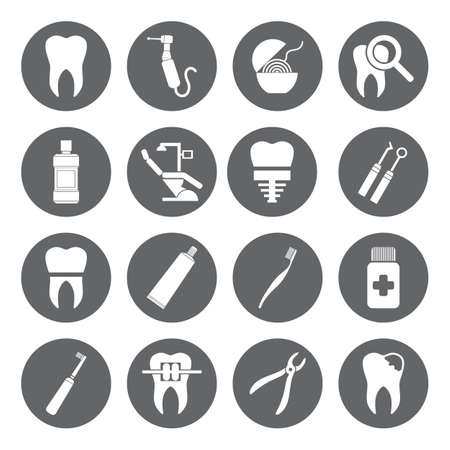 Set of vector Dental Icons in flat style. Dental white icons on grey basis.