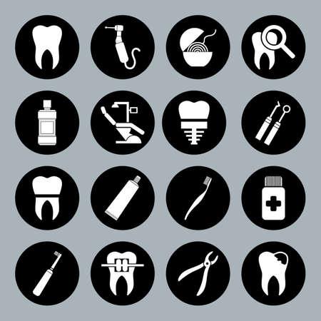 Set of vector Dental Icons in flat style. Dental white icons on black basis. Illustration