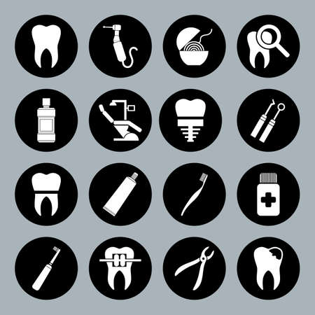 Set of vector Dental Icons in flat style. Dental white icons on black basis. Ilustração