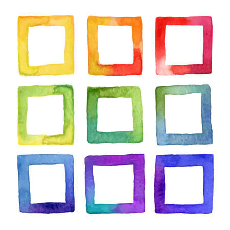 Set of vector colorful watercolor squares for your design. Watercolor design elements isolated on white background. Vector