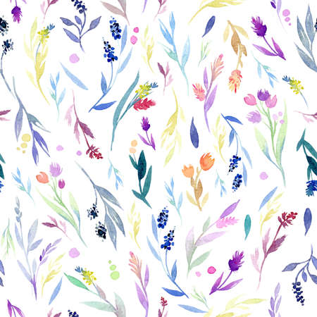 Seamless vector pattern with colorful watercolor floral elements and drops. Hand drawn ornament with herbs.  Perfect for greetings, invitations, manufacture wrapping paper, textile, web design.